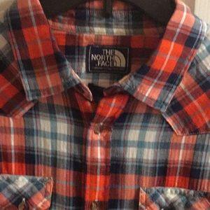 North Face Men Red,White,Blue plaid shirt Medium